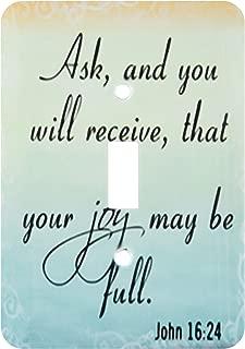 3dRose lsp_150078_1 Bible Verse John 16-24 Gradient Pastel Bible Christian Inspirational Saying Light Switch Cover