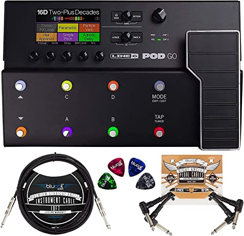 lowest Line 6 POD Go Amp Modeler Multi-FX Processor Bundle with Blucoil 2-Pack of 10-FT Straight Instrument Cables (1/4in), 2-Pack of Pedal Patch Cables, and 4-Pack online sale of outlet sale Celluloid Guitar Picks online