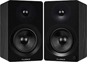 "Fluance Ai60 High Performance Powered Two-Way 6.5"" 2.0 Bookshelf Speakers with 100W Class D Amplifier for Turntable, PC, HDTV & Bluetooth aptX Wireless Music Streaming (Black Ash)"