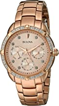 Bulova Women's 98R178 Diamond Accent Markers Rose Gold-Tone 36mm Watch