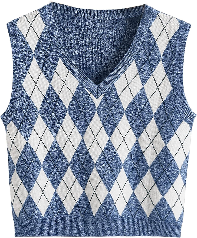 Romwe Women's V Neck Knit Sweater Vest Preppy Style Argyle Plaid Sweater Tank