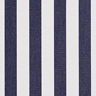 B491 Navy Striped Indoor Outdoor Marine Scotchgard Upholstery Fabric by The Yard