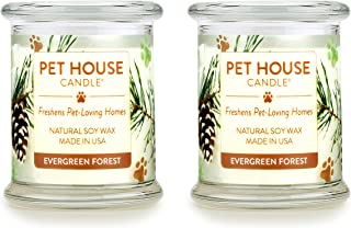 One Fur All 100% Natural Soy Wax Candle, 20 Fragrances - Pet Odor Eliminator, Up to 60 Hours Burn Time, Non-Toxic, Eco-Friendly Reusable Glass Jar Scented Candles – Evergreen Forest - Pack of 2