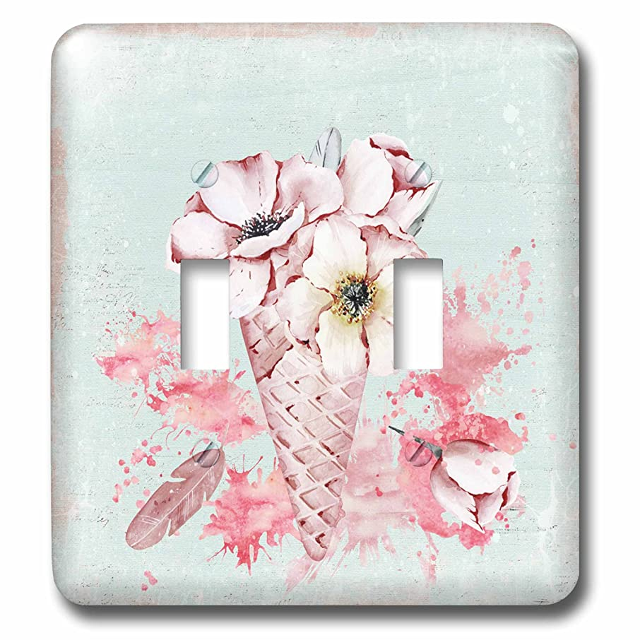 3dRose (LSP_266830_2 Double Toggle Switch Pink Flowers in an Ice-Cream Cone in Pastel Watercolor Illustration