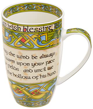 """Irish Blessing bone china mug - """"May the road rise to meet you. May the wind be always at your back."""" An Irish Gift designed in Galway Ireland by Irish Weave by Royal Tara."""