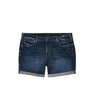 Silver Jeans Co. Plus Size Mid-Rise Boyfriend Shorts W53608SDK357 (Indigo) Women