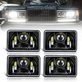 (4PCS) Dot approved 4x6 Inch LED Headlights Rectangular High/Low Beam Replacement H4651 H4652 H4656 H4666 H6545 for Peterbil Kenworth Freightinger Ford Probe Chevrolet Oldsmobile Cutlass