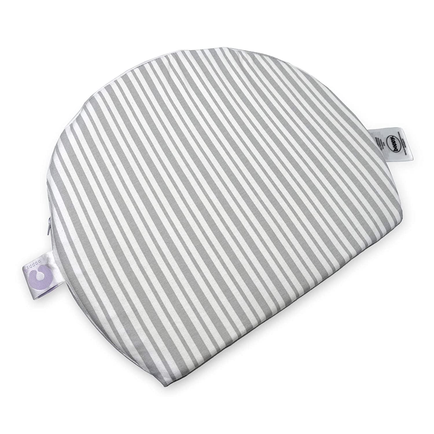 Boppy Pregnancy Wedge Pillow with Removable Jersey Pillow Cover   Gray Modern Stripe   Firm, Compact Support   Prenatal and Postnatal Positioning
