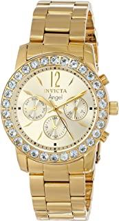 Invicta Women's 14157 Angel 18k Gold Ion-Plated Stainless Steel and Aquamarine Watch