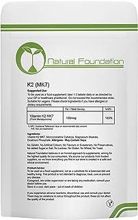 Vitamin K2 MK-7 Tablets 100mcg Supplement Blood Bone Health | Natural Foundation Supplements (1000 Tablets)