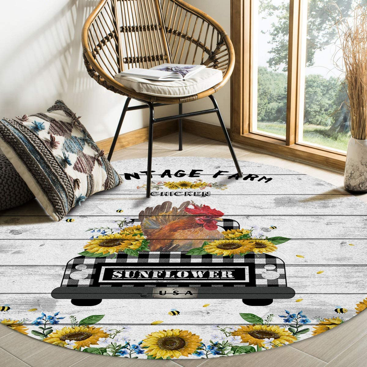 Round Credence Area Rugs Vintage Farm Chicken El Paso Mall Living Room Be Soft Indoors