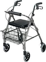 DMI Freedom Lightweight Folding Aluminum Rollator Walker with Adjustable Handle Height, Cushioned Flip Up Seat and Conveni...