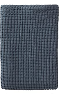 URBANARA Veiros Bedspread - 100% Cotton, Throw-Style Coverlet Blanket Woven in Chunky Waffle Pattern - Soft, Breathable for Cool and Warm Nights - for Twin Size Bed or Couch - 71 x 91, Blue Grey