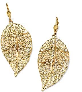 Gold Tone Filigree Leaf Drop Earrings (73x31mm)