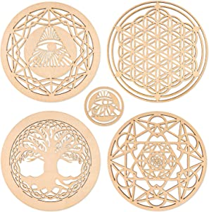FANKUTOYS 5 Pcs Sacred Geometry Wood Wall Art, Yoga Decor Wooden Wall Sign, Flower of Life Shape Laser Cut Wood Wall Art, Crystal Grid, Meditation Decor, Housewarming Gift