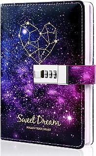 """دفترچه خاطرات قفل برای دختران ، دفتر خاطرات با قفل برای زنان ، مجله نوشتن مخفی با قفل ، دفترچه یادداشت چرم صورت فلکی ستاره ستاره ای ، هدایا برای کودکان دختر بچه های نوجوان پسرانه ، 7.4 """"x 5.1"""""""
