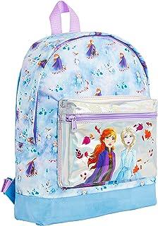 Frozen 2 Mochila Escolar Infantil para Niñas Azul, Princesas Disney Anna Elsa El Reino del Hielo, Mochilas Disney Escolares Juveniles Bolsillo Delantero Plateado, Regalos para Niños