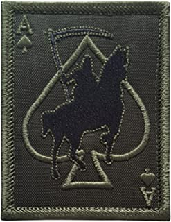 LEGEEON OD Olive Drab Ace of Spades Grim Reaper Death Card Morale Tactical Skull Skeleton Sew Iron on Patch