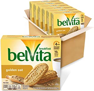 belVita Golden Oat Breakfast Biscuits, 6 Boxes of 5 Packs (4 Biscuits Per Pack)