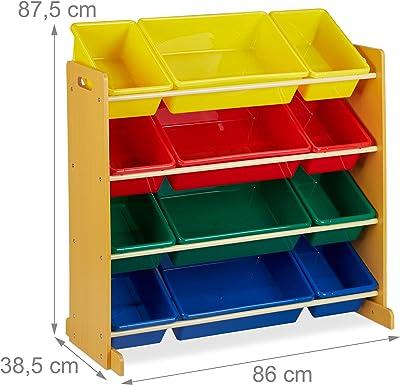 Relaxdays Meuble Rangement Jouet, avec 12 boîtes de Stockage, pour Filles et garçons, HLP : 87,5 x 86 x 38,5 cm, coloré 1 élément
