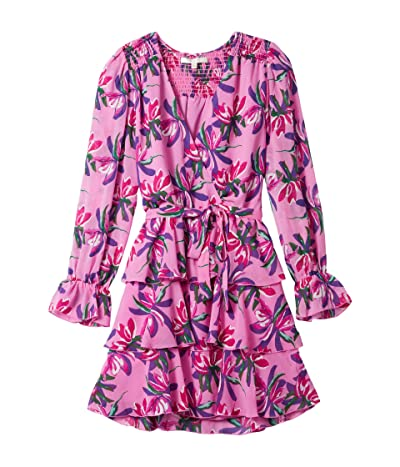 WAYF Lettie Tiered Long Sleeve Belted Mini Dress (Pink Birds of Paradise) Women