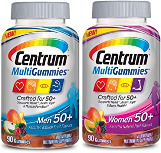 Centrum MultiGummies Men and Women 50+ Bundle Supports Heart, Brain and Eye Health Multivitamin/Multimineral Supplement in...
