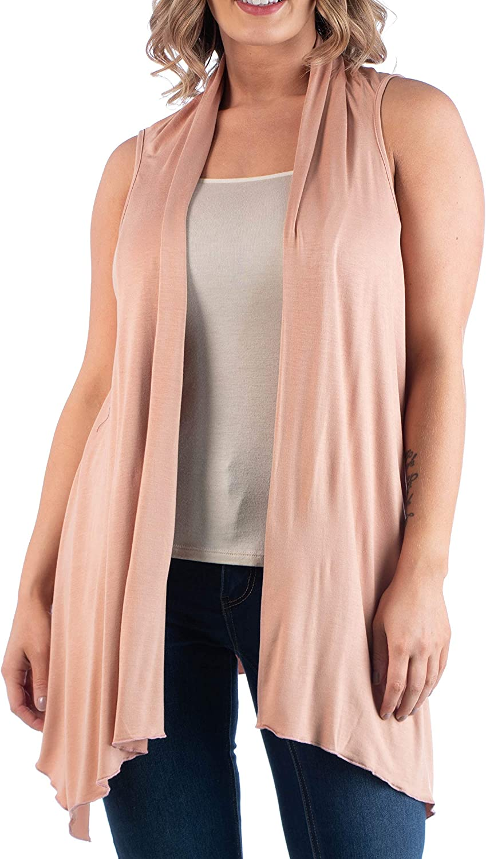 24seven Comfort Apparel Womens Plus Size Lightweight Boho Sleeveless Open Front Cardigan Shrug Vest Made in USA -1X-3X