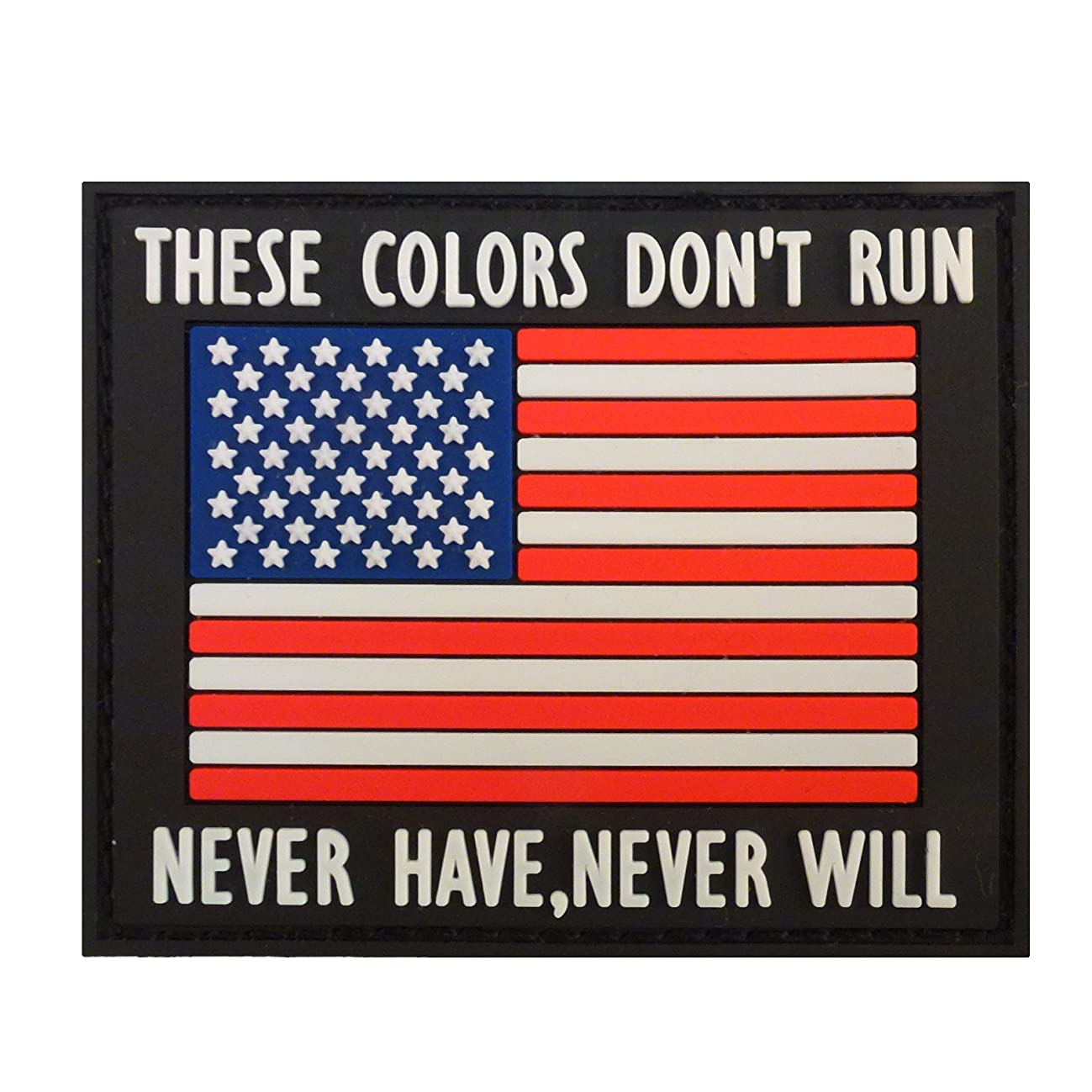 LEGEEON These Colors Don't Run American Flag Morale PVC Rubber Fastener Patch