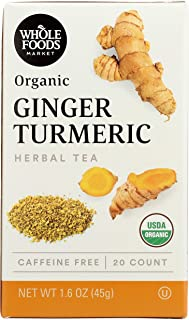Whole Foods Market, Organic Herbal Tea, Ginger Tumeric (20 Count), 1.6 Ounce