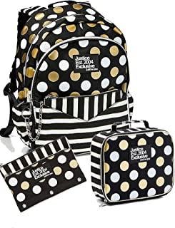 Justice Girls Back to School Bundle of 3, Black Stripe & Dot Backpack Wristlet attached, Lunch Tote and Pencil Case