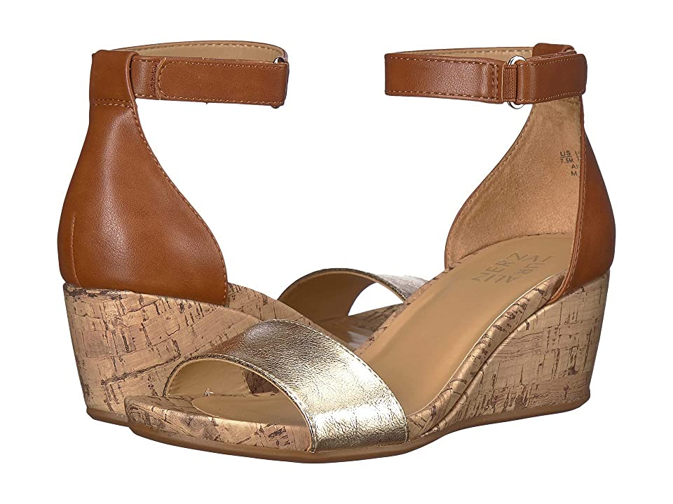 Naturalizer Areda (Tan/Gold Metallic Synthetic Smooth) Women's Wedge Shoes