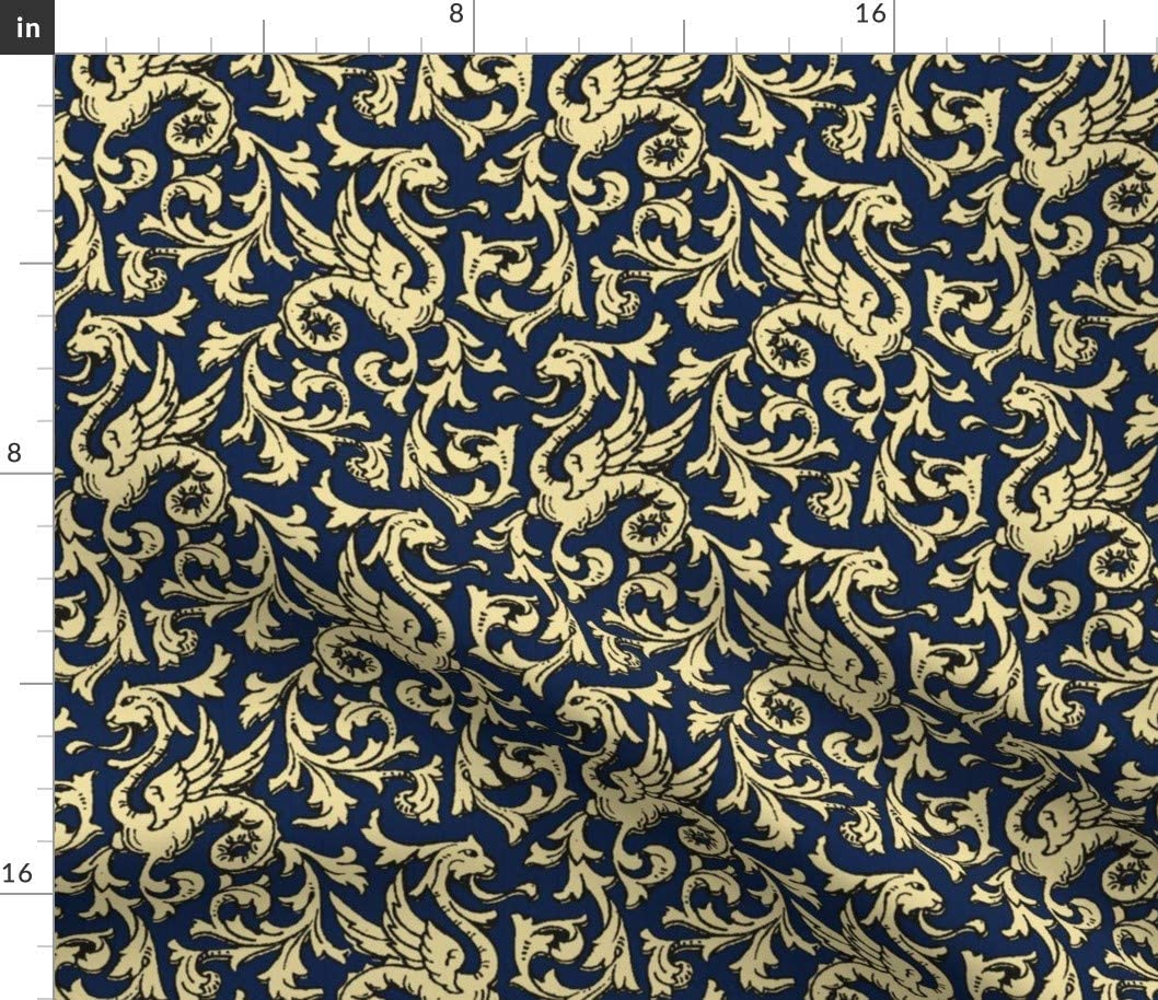 Spoonflower Fabric - Max 54% OFF Dragons Navy Gold Medieva Ornamental Ranking TOP5 Dragon