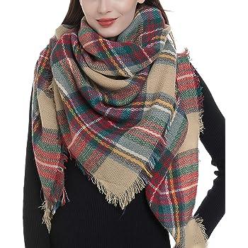Yusongirl Womens Scarf Fashion Warm Wrap Shawl Chunky Oversized Tartan Plaid Scarf Blanket Cape