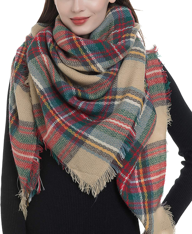 Trendy Plaid Blanket Scarf Women Big Oversized Long Scarves Warm Winter Tartan Checked Shawl Wrap Scarf Gift at Amazon Women's Clothing store
