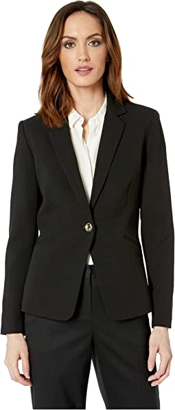 Crepe One-Button Long Sleeve Jacket