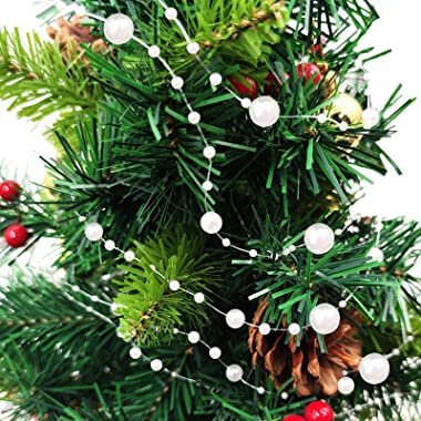 TURNMEON 66 Feet Christmas Beads Garland Decoration 2 Sizes Pearl Strands Chain for Christmas Tree Decoration Indoor Outdoor