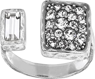 Crystal Cuff' Open-Face Ring with Swarovski Crystals in Sterling Silver