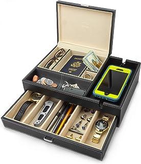 صندوق ادميرال كبير خاص للرجال من هاوندزباي، لحفظ الاغراض والاكسسوار والمجوهرات مع قاعدة شحن كبيرة للهواتف الذكية (لون عاجي)