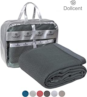 DOLLCENT 400 GSM 100% Combed Cotton Blanket – Twin Size Bed Blankets– Warm Soft All Season Breathable Light Weight Summer Blankets– Chevron Weave Home Decor Bed Blanket- Grey Twin Bed Cotton Blankets