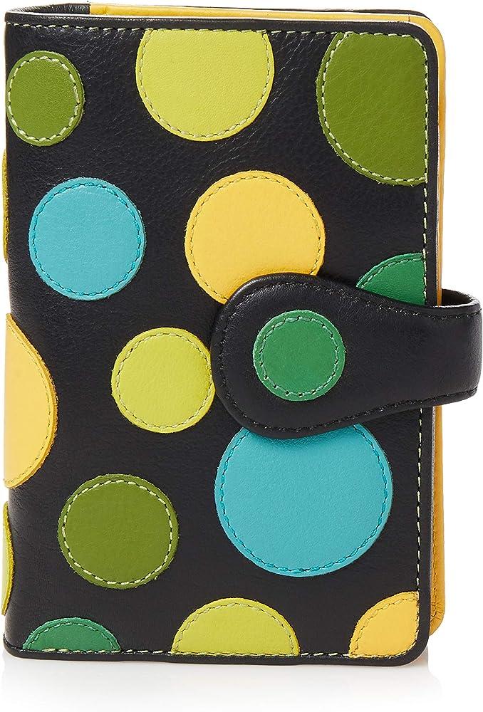 Visconti, portafoglio in pelle da donna, a piegatura doppia, multicolore 2