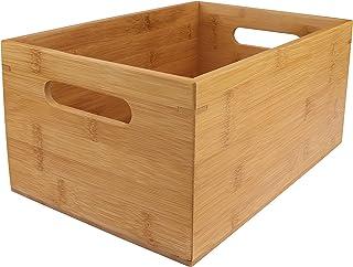 Cajon Madera Almacenaje - 30 x 20 x 14cm Caja de Bambú con Asa para Organizar Alacena Cocina Despensa Estantes - Caja ...