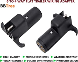 BBTree 6-Way RV Blade to 4-Way Round Trailer Wire Adapter Trailer Light Plug Connector [Nickel-Plated Copper Terminals] [Rugged Nylon Housing] [Compact Design] 6-pin to 4-pin Trailer Wire Plug Adapter