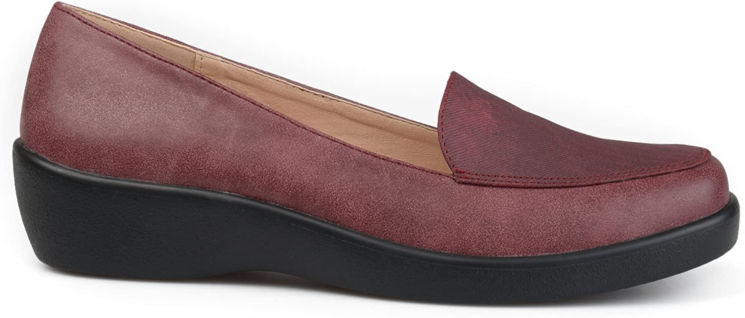 Brinley Co. Womens Comfort Sole Faux Suede Square Toe Loafers