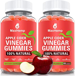 (2 Pack) 1,000mg Organic Apple Cider Vinegar Gummies with The Mother - ACV Gummy for Immune Support, Detox & Weight Loss -...