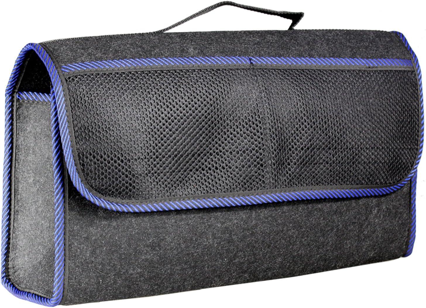 Kofferraumtasche Mit Klett Farbe Schwarz Aus Filz Für Das Auto Autotasche Kofferraum Oder Rückbank 48 X 28 X 14 Cm Toolbag Farbwahl Schwarz Blau Auto