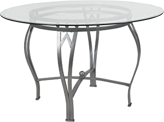 Flash Furniture Syracuse 48'' Round Glass Dining Table with Silver Metal Frame