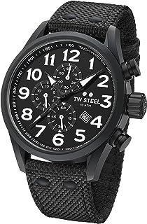 TW Steel Men's Volante Stainless Steel Japanese-Quartz Watch with Nylon Strap, Black, 22 (Model: VS43)