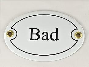 "Ovaal deurbordje emaille"" Bad"", 10,5x7,0cm"