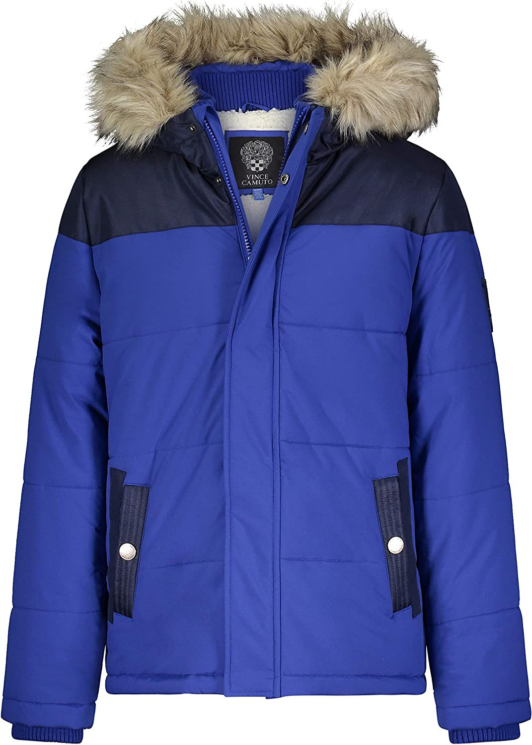 Vince Camuto Boys' Warm Puffer Genuine Jacket Hooded Oakland Mall Coat