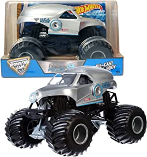 Monster Jam Hot Wheels Year 2016 1:24 Scale Die Cast Metal Body Official Truck - Silver NEA New Earth Authority N.E.A. Police (CGD64) with Monster Tires, Working Suspension and 4 Wheel Steering